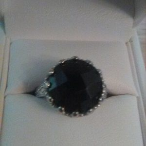 Round Faceted Black Spinel Silver RIng